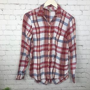 Lucky Brand Flannel Blouse Size Small